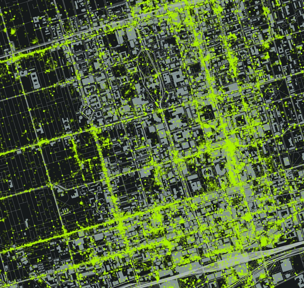 Area of Tweet density - Bloor to Lake along Young.