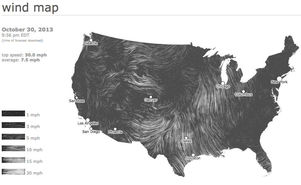 Wind speeds are estimates based on data accessed within the hour.