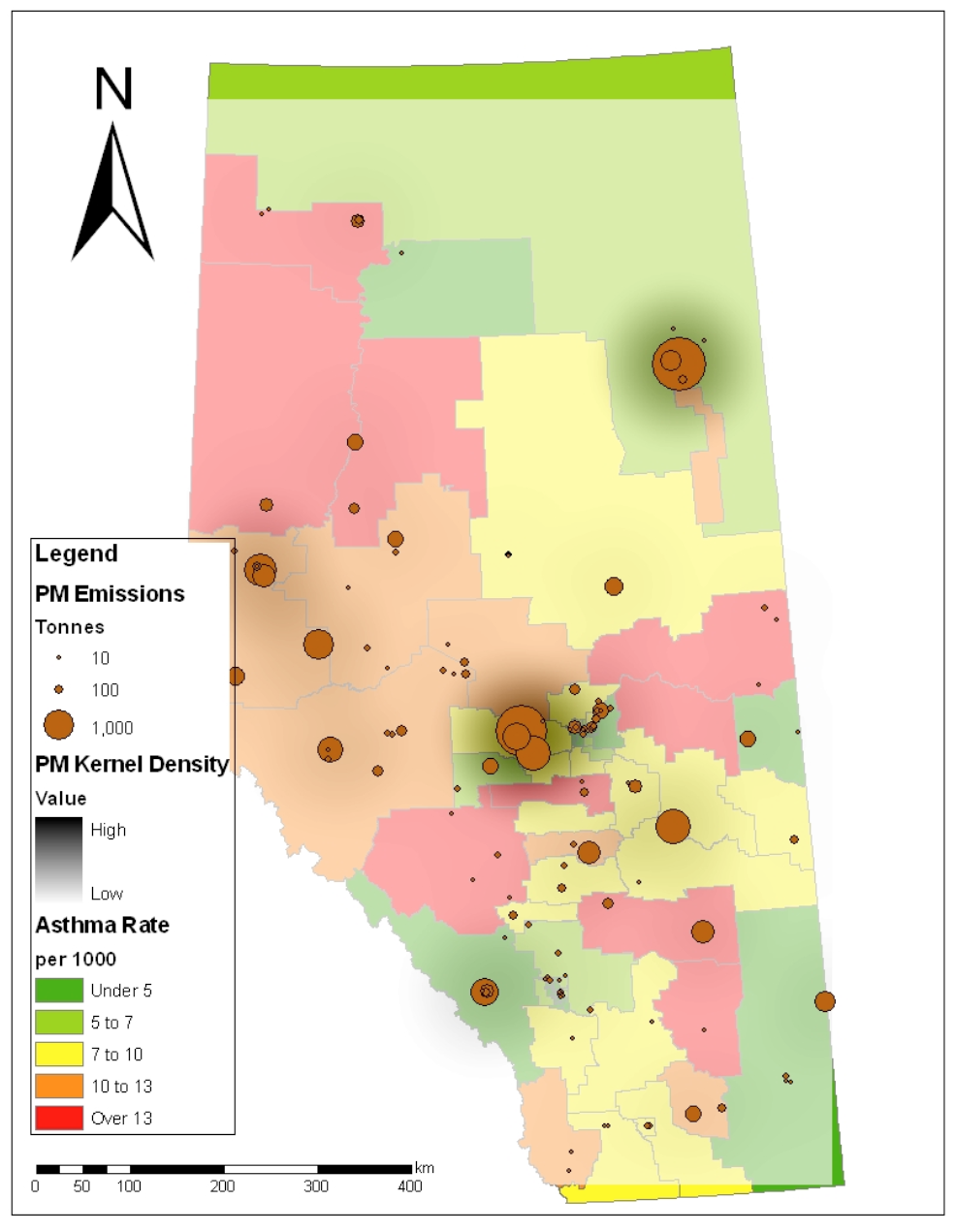 Particulate Matter (PM2.5) Kernel Density Analysis and Asthma Rates in Alberta