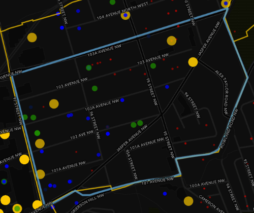 Figure 5: The Quarter's Boundary. Small red dots are residences (apartments, condos, houses) and associated structures (detached garages, sheds, etc). Blue are engineering (infrastructure maintenance, utilities, hoarding, etc). Green are various retail, restaurants and bars. Yellow are offices.