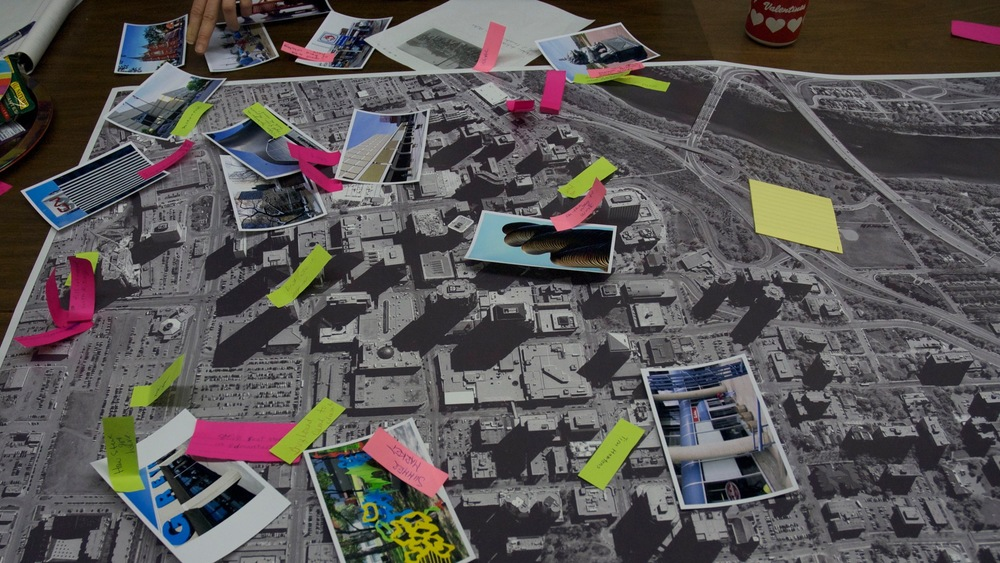 An image of an orthophoto being annotated by inner-city residents on how they use outdoor downtown spaces.