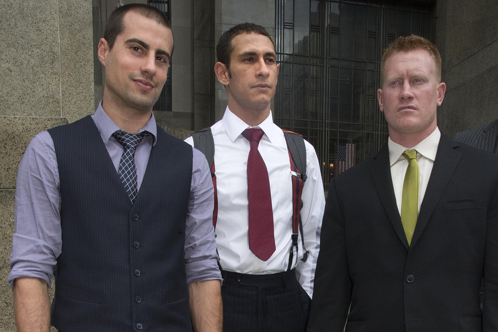 BASE Jumpers Markovich, Rossig, and Brady (L to R). (Photo: Steven Hirsch / NY Post)