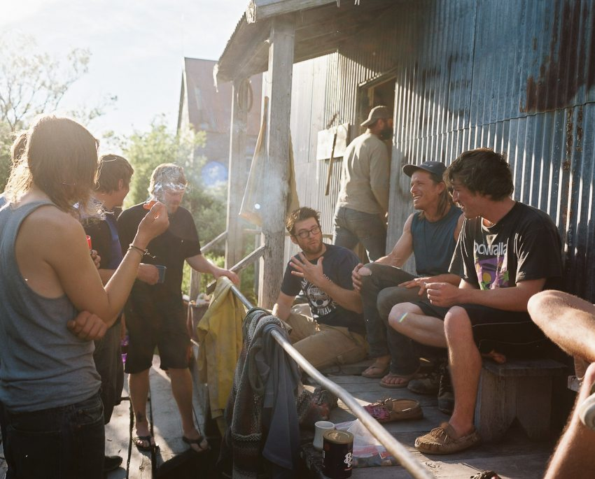 Typical fishermen's gathering on the Schrier crew's porch. Photo (c) Corey Arnold 2013.
