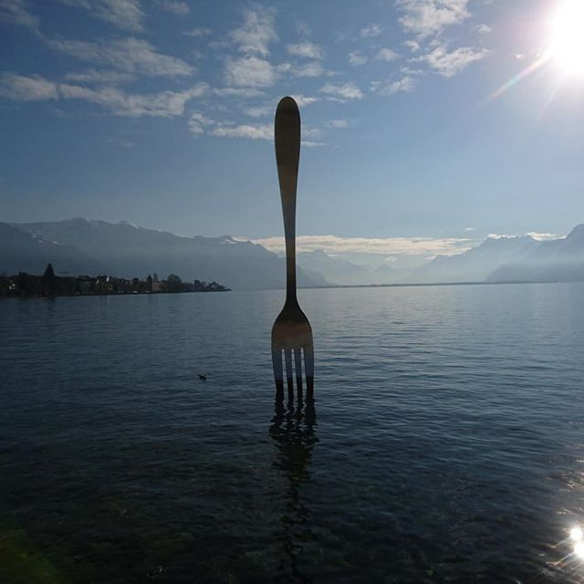 Really feel like we arrived at a fork in our trip today... Specifically, an impressive, random, towering stainless steel fork in the glorious town of Vevey, Switzerland.  #fork #switzerland #sunnyswiss #sculpture #noknife #lakegeneva #excitedtovisitbothcernandarecordshoptomorrow