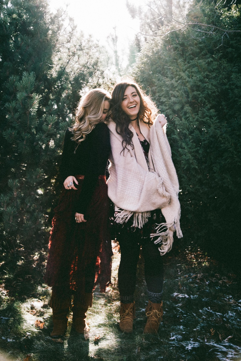 Courtney: Free People Dress | Free People Leggings |  Minnetonka Moccasin Boots  Allegra: Free People Dress | Forever21 Scarf | PacSun Leggings | Minnetonka Moccasin Boots