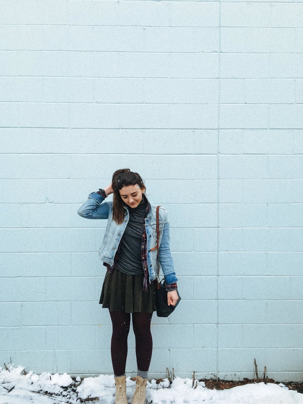 Brandy Melville  Jean Jacket  (similar)  |  Brandy Melville  Flannel  | La Seniorita Jolie Turtleneck | Brandy Melville  Skirt  (similar)| Bullboxer  Boots  | Madewell  Mini Transport Crossbody