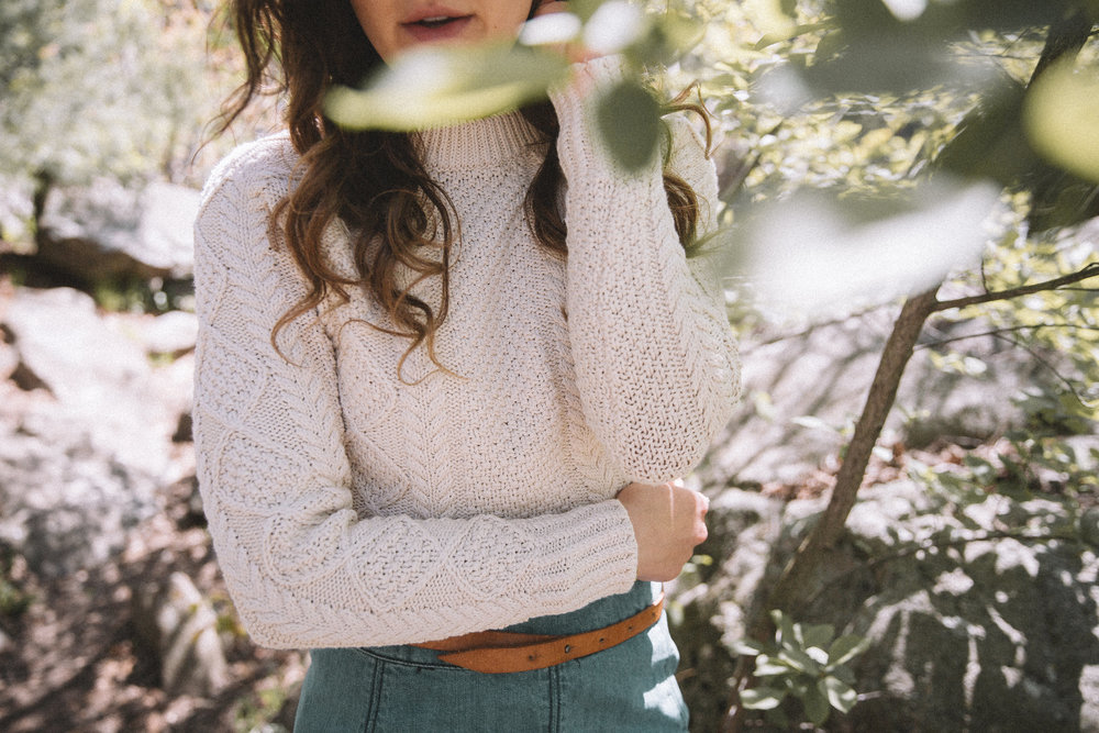 L.L. Bean Women's Signature Cotton Fisherman Sweater (in Beige) | Free People Zip to It Denim Mini Skirt
