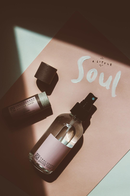 "Soul Sunday   Positive Seeds Lip + Skin Balm (in ""rose vanilla"") &  Gentle Toner Balance Mist"