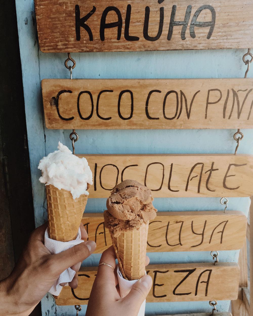 coconut & chocolate ice cream back in antigua. spilled my chocolate ice cream all over my white dress.