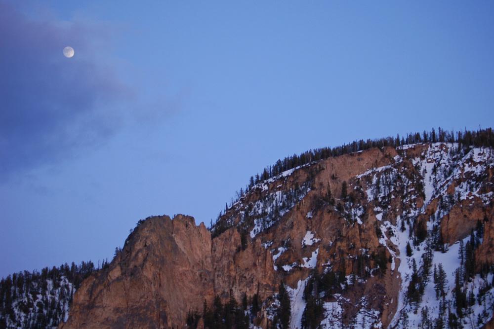 Near Full Moon Over Bunsen Peak
