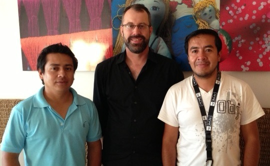 El Batan cooperative leaders Eduardo Santin and Ramiro Sisalima with coffee buyer Ted Stachura