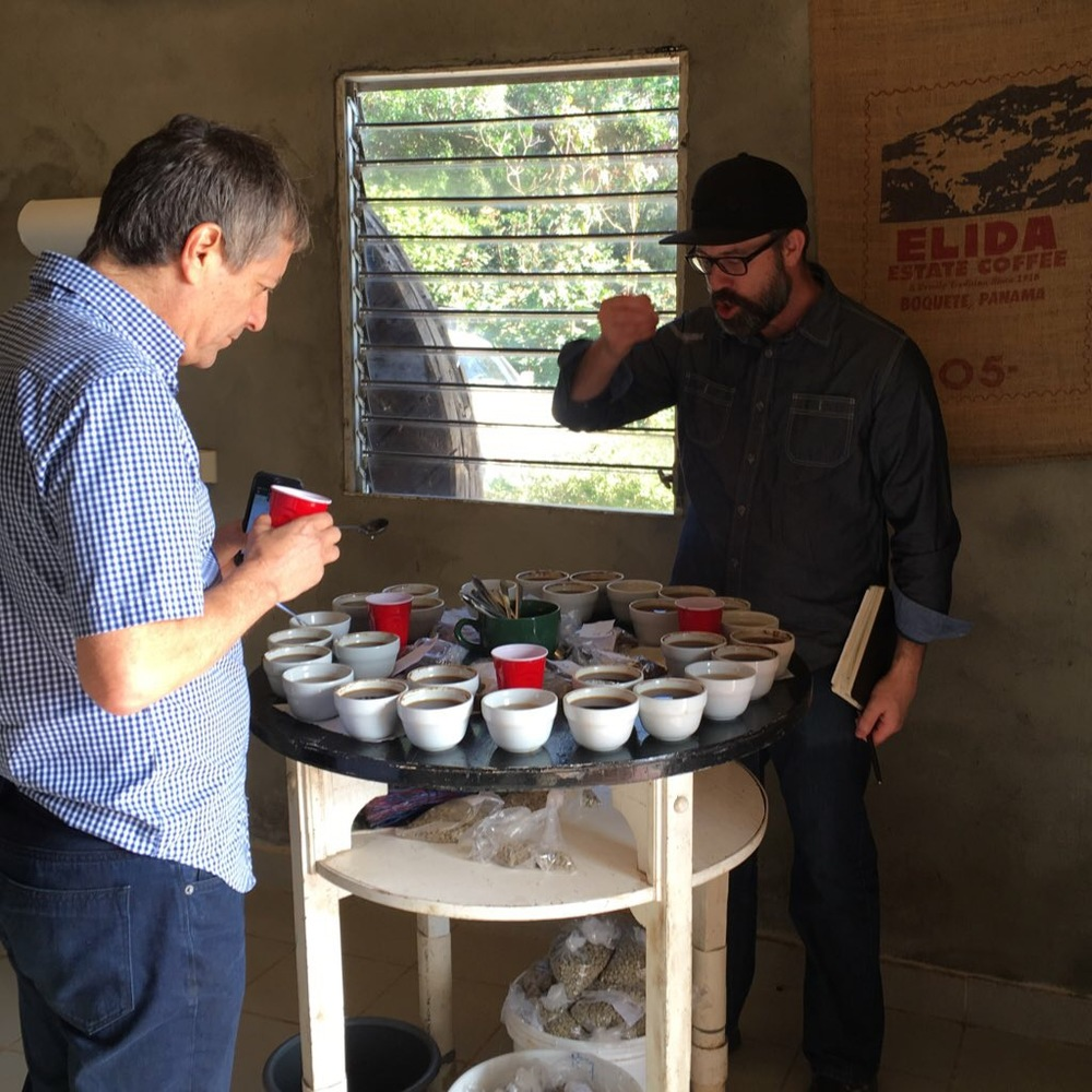 Our Director of Coffee Ted cupping with Wilford Lamastus at Elida Estate, Panama.