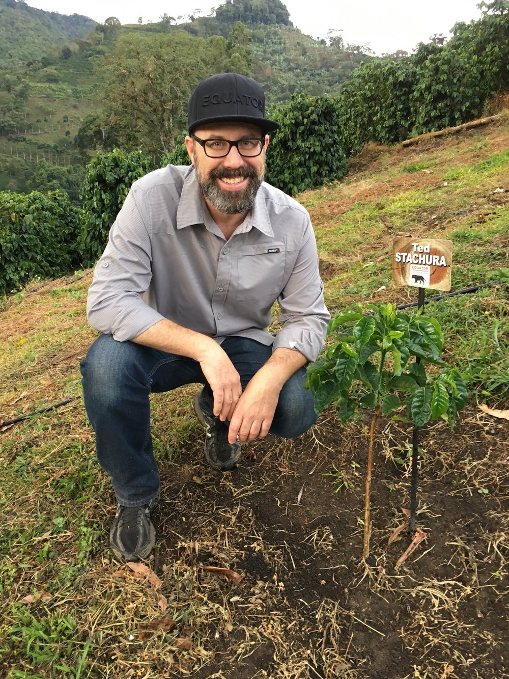 Ted with a young Yellow Bourbon coffee tree he planted last year at Finca Las Margaritas.