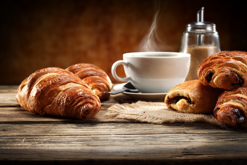 Resultado de imagem para coffee and croissant in french