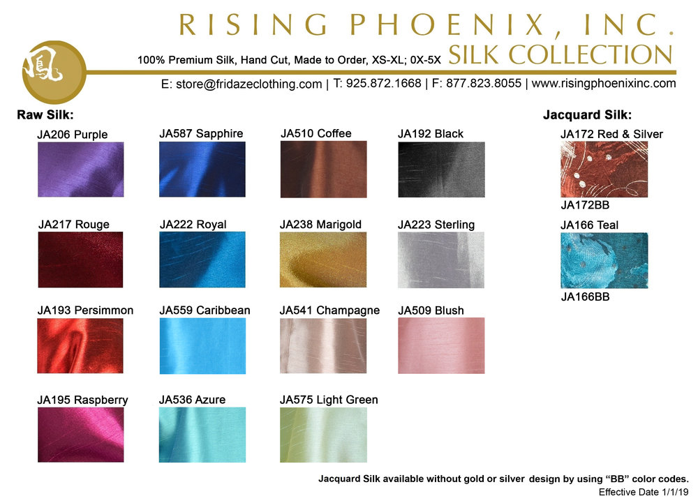 Rising Phoenix Color Chart