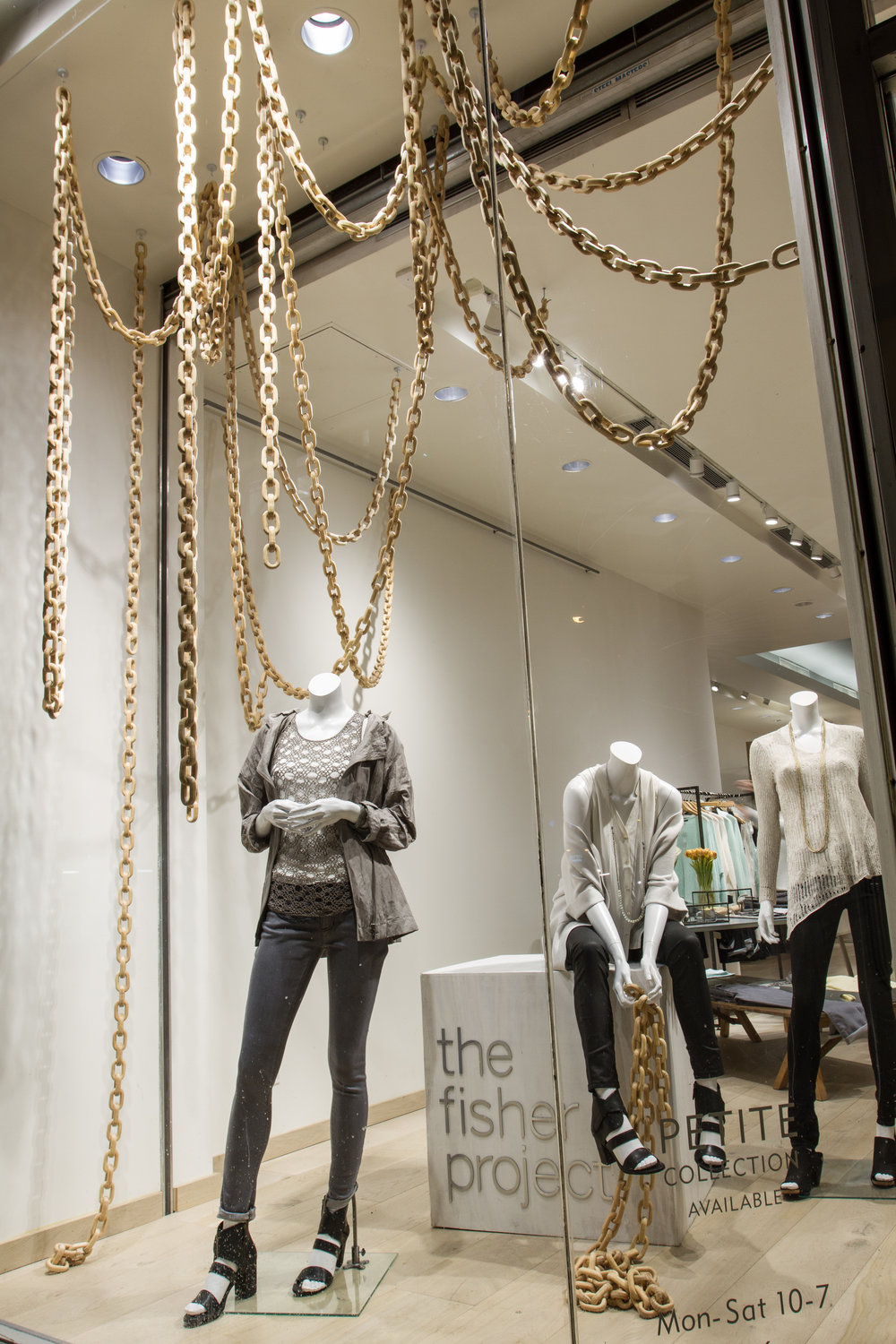 window display, launch of The Fisher Project, Eileen Fisher Boutique 5th Ave New York