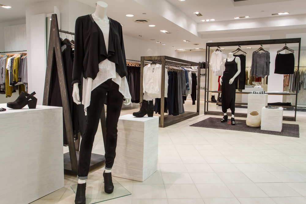 pop up store design, Eileen Fisher temporary space, Columbus Circle, New York