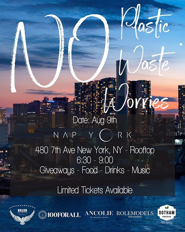 Friends! This Thursday, August 9th come out and support our brothers @100forall as they show us how to party with NO waste. Details below and link in bio for tix! No plastic, no waste, no worries! • • • On Thursday, August 9th we will be rooftop partying at NapYork with NYC's leaders in sustainable living. With thousands of events happening every day in this city creating too much waste, we are here to show you how to party without creating waste. No plastic, no waste, no worries! All proceeds from the evening will be directed towards furthering our clean water solutions in Southeast Asia. Currently we have provided 4 schools with clean water solutions and soon to be more. Catch some summer vibes and find out how we can all make the world a better place :) Tix include Food + Drinks + Music 💜
