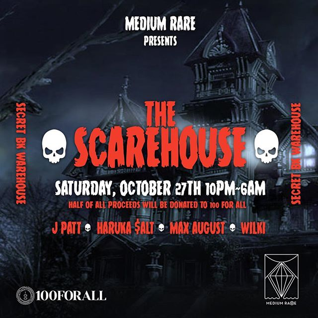 On Saturday, October 27th, from 10pm~6am we're going deep and dark in our newly haunted 💀ScareHouse💀 in East Williamsburg, Brooklyn. 👻 We're teaming up with our @100forall brothers on this one and will be donating half of all the proceeds to provide clean water solutions to communities in need in Indonesia. 🧛🏻‍♂️ @mrjpatt • @harukasalt • @wilkiofficial & @maxaugustmusic will be lighting up the decks this Hallows' Eve with sexy sounds surrounded by a crazy eyed collection of glowing jack o'lanterns and spooky surprises around every living dead corner. 🎃 *** Costumes Required! Location will be revealed the day before the event *** ☠️ See you on the dark side of the Moon you spooks... LINK IN BIO