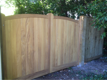 Gates We supply and fit a wide variety of Driveway and Garden Gates, constructed with a range of high quality Softwood, Iroko hardwood and Cedar hardwood.  Gates can be made to measure to suit any situation. Learn More →