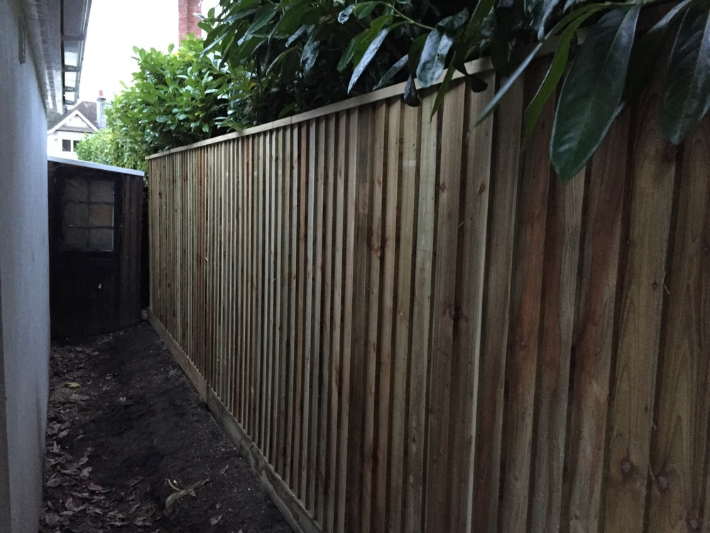 Feather edge boards and trenched capping have now been fitted to finish the fence.