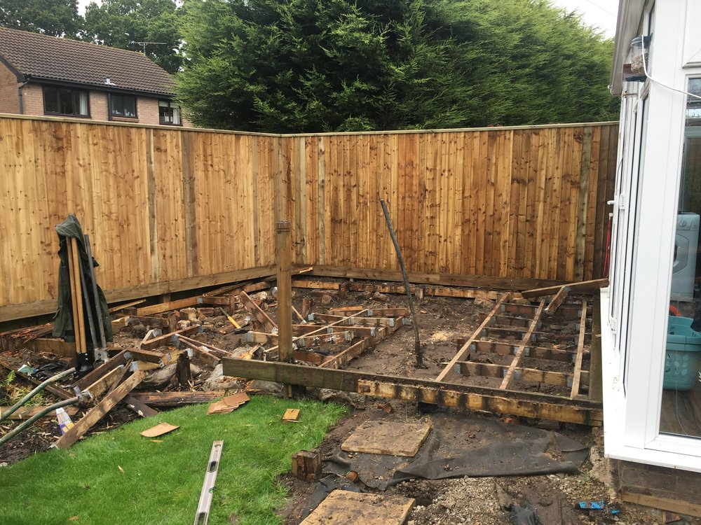 Firstly we replaced the fencing, then removed the deck. We often find like in this case the deck is supported by a timber frame which is not suitable for the weight of the deck itself let alone the foot traffic and furniture it will support.