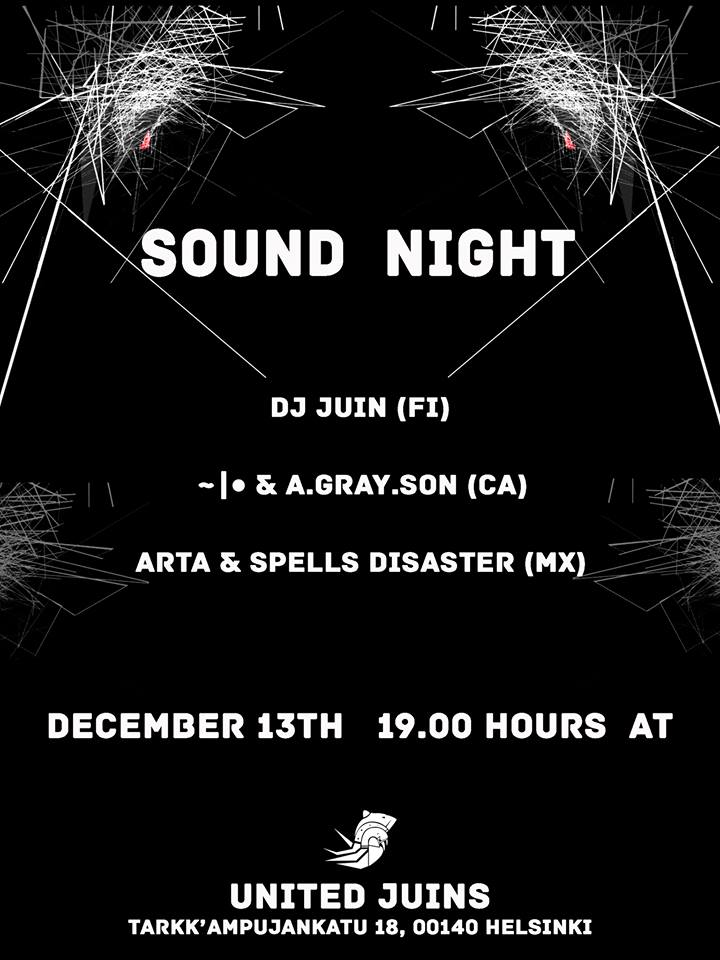 Promotional Poster for Sound Night I at Thrid Space, Helsinki, Finland