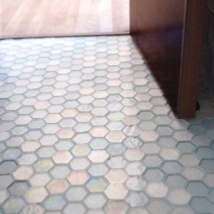 Hexagon glass mosaic from Oceanside Glass Tile.