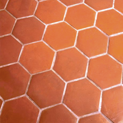 Terracotta hexagon tiles.