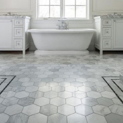 Marble hexagon floor tiles