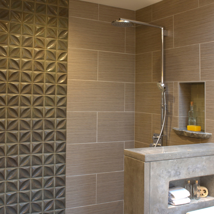 Dimensional tile in a modern shower stall, Santa Fe, NM.   Available at Statements.