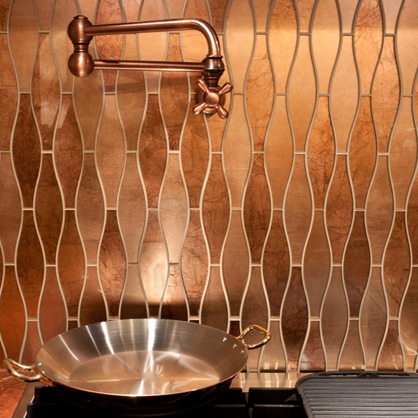 Copper tile backsplash.