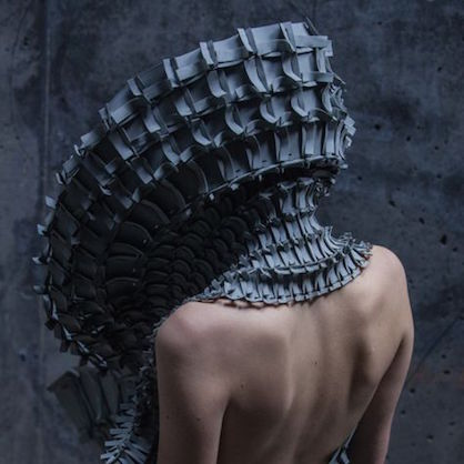 Matija Cop's collection Object 12-1 is a striking mixture of sculpture + conceptual fashion, with laser cut pieces assembled much like architecture.
