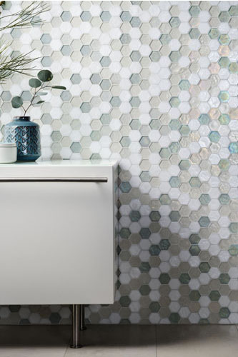 Hexagonal Marine-Colored Mosaic designed by Cathy Aroz.