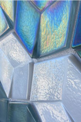 Dimensional iridescent tile mosaic.