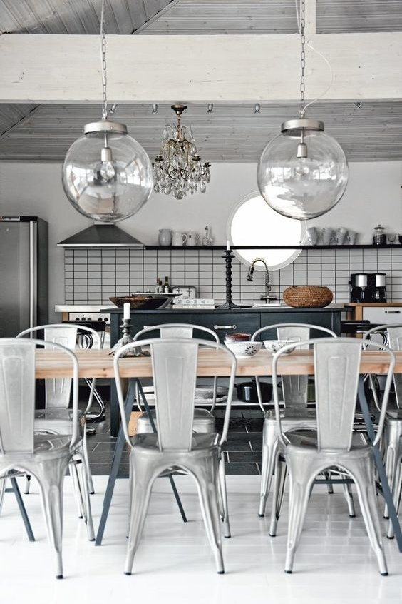 Clear Lighting Globes in a Scandinavian interior.