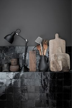 Glossy black onyx kitchen tile