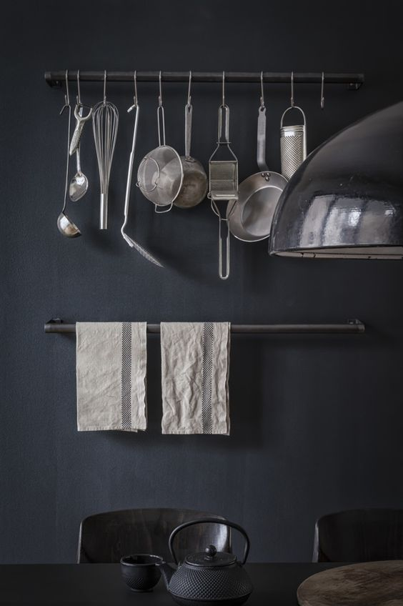 From Em's Designblogg - black kitchen wall paint