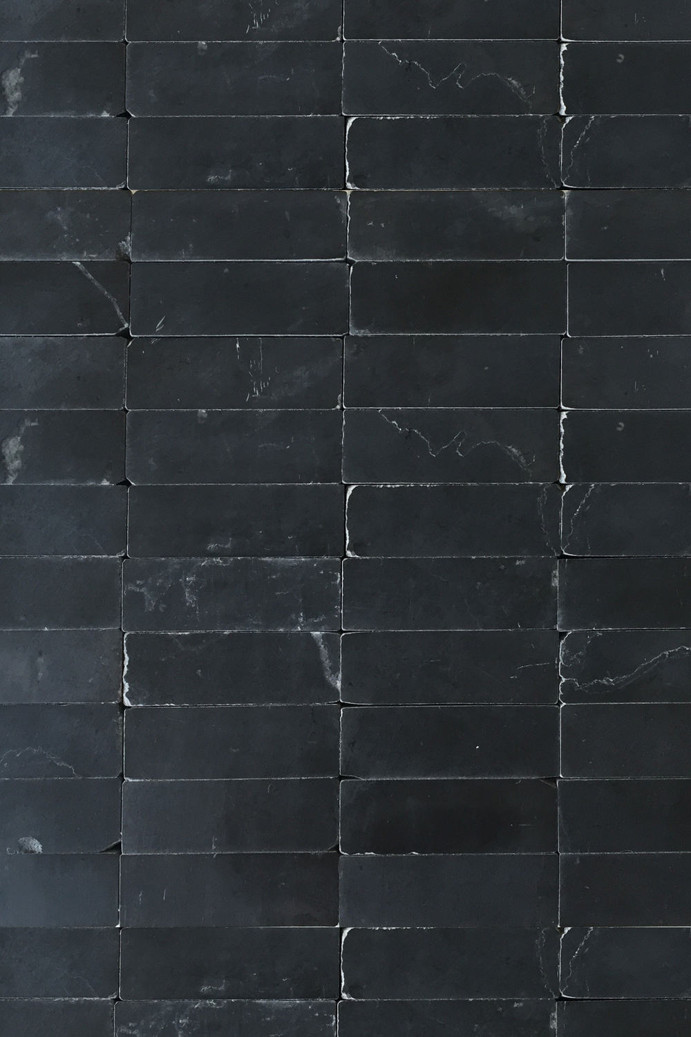 Smooth black stone brick mosaic tile