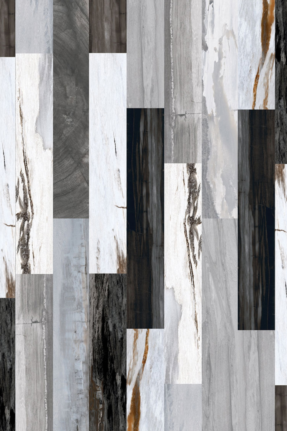Oblong Black & White wood effect Kitchen Tile