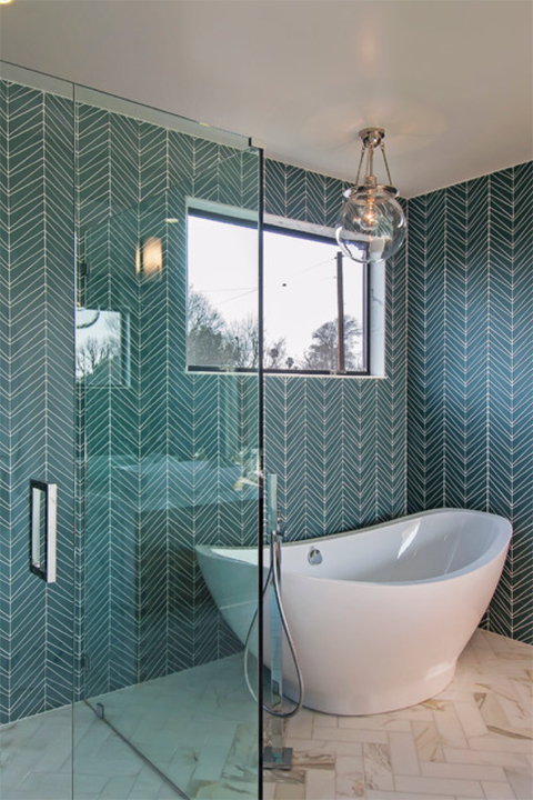 Chevron aqua tiled bathroom