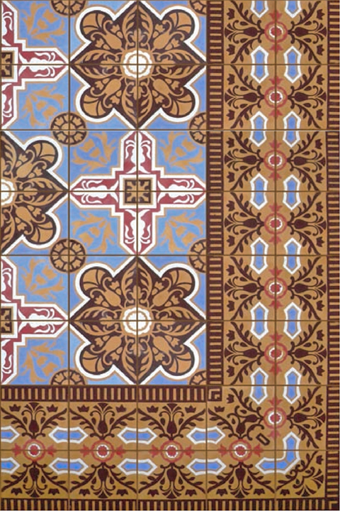 Patterned cement tile with border.
