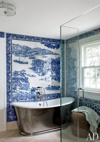 Designer Russell Piccione's dramatic bathroom makeover. Via Architectural Digest.