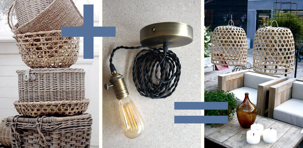 Baskets via  Pinterest . Light bulb & canopy set available at Statements. Light fixtures via  Pinterest .