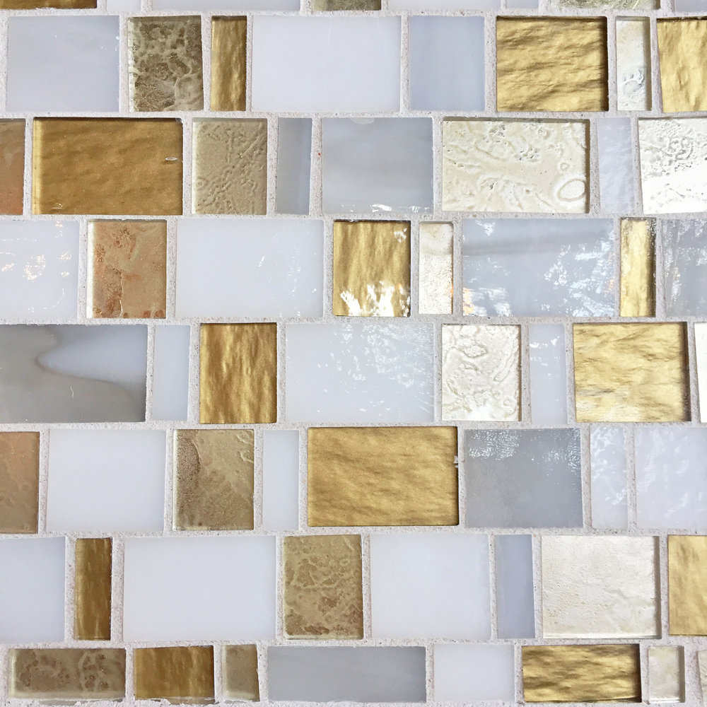Glass mosaic, white & gold.