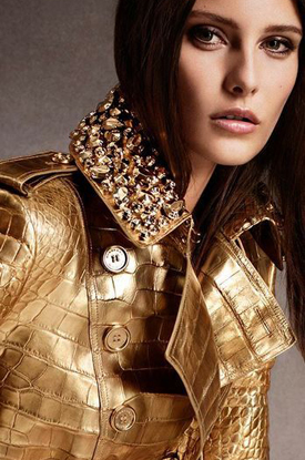 Golden coat by Burberry.