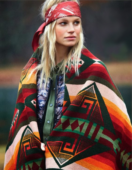 Model Nadine Leopold wrapped in a Pendleton blanket.