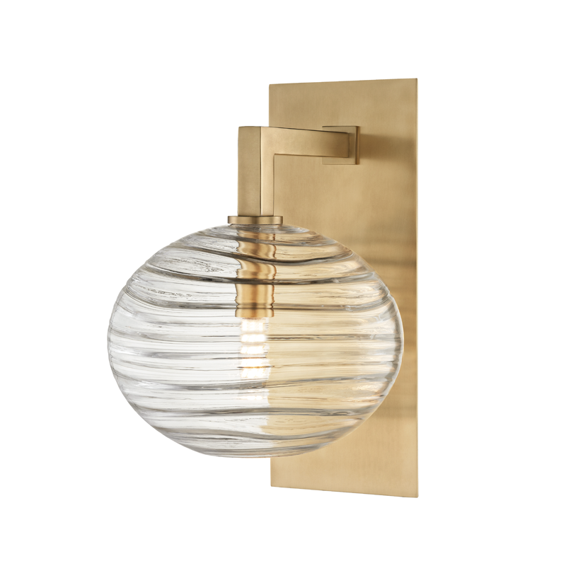 Brass plate wall sconce reading light with ribbed glass globe shade.