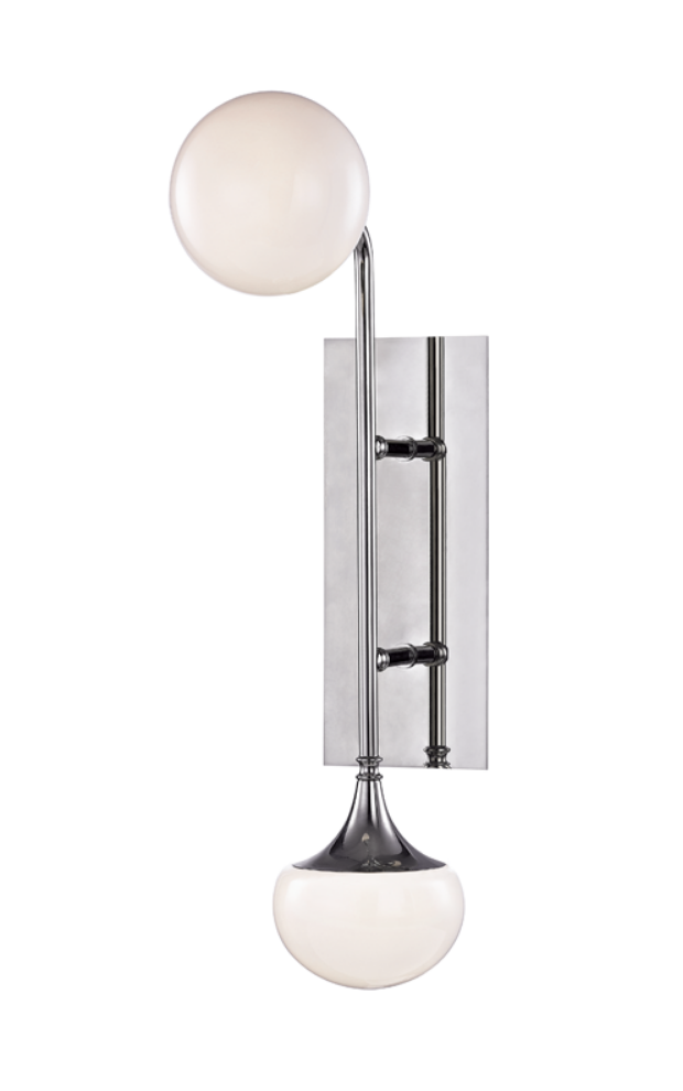 Two lamp wall sconce in chrome.