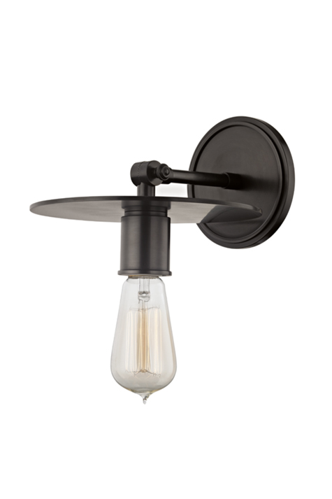 Wall sconce, black with round metal shade.